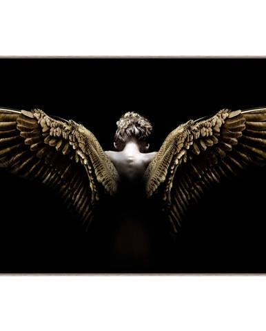 Monee OBRAZ NA SKLE, lidé, 120/80 cm - černá, barvy zlata