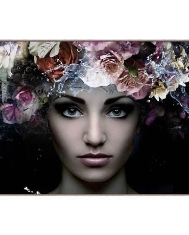 Monee OBRAZ NA SKLE, ženy, 120/80 cm - hnědá, fialová, černá
