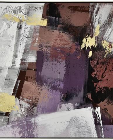 Monee OLEJOMALBA, abstraktní, 55/55 cm - fialová, bílá, barvy zlata, tmavě hnědá