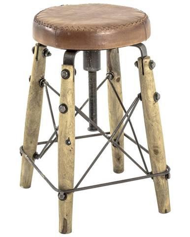 TABURET, dřevo, kov, kůže, 35/35/54-72 cm - hnědá, přírodní barvy