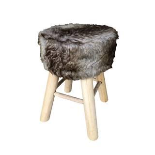 Ambia Home TABURET, dřevo, textil, kompozitní dřevo, 28/42 cm - šedá, přírodní barvy