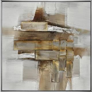 Monee OLEJOMALBA, abstraktní, 55/55 cm - hnědá, bílá