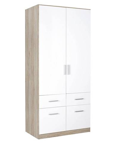 Carryhome ŠATNÍ SKŘÍŇ, bílá, barvy dubu, 91/197/54 cm - bílá, barvy dubu