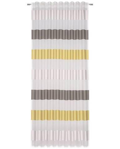 Esposa HOTOVÝ ZÁVĚS, poloprůhledné, 140/245 cm - žlutá, šedá