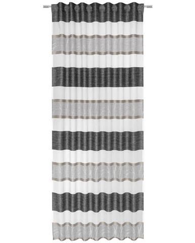 Esposa HOTOVÝ ZÁVĚS, průhledné, 135/245 cm - krémová, šedá, černá