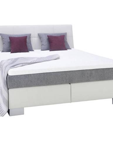 Voleo POSTEL BOXSPRING, 180/200 cm, textil, bílá, světle šedá - bílá, světle šedá