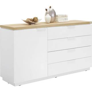Xora KOMODA, bílá, barvy dubu, 157,5/88,5/43 cm - bílá, barvy dubu