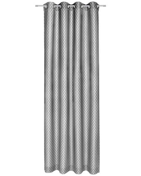 Joop! Joop! ZÁVĚS S KROUŽKY, neprůsvitné, 140/250 cm - barvy stříbra, světle šedá