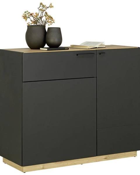 Carryhome KOMODA, černá, barvy dubu, 100/84/41,5 cm - černá, barvy dubu