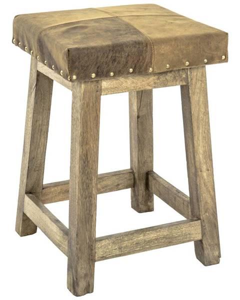 Ambia Home TABURET, dřevo, kůže, 33/50/33 cm - hnědá, přírodní barvy, světle hnědá