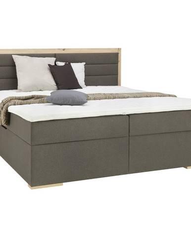 Carryhome POSTEL BOX, 180/200 cm, textil, kompozitní dřevo, šedá, barvy dubu - šedá, barvy dubu