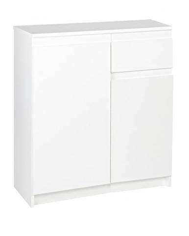 KOMODA, dub, bílá, 73.2/85/37 cm - bílá
