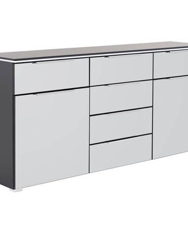Novel KOMODA, šedá, černá, 180/84/41 cm - šedá, černá
