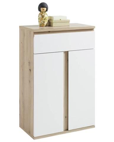 Xora BOTNÍK, bílá, barvy dubu, 65/101/36 cm - bílá, barvy dubu