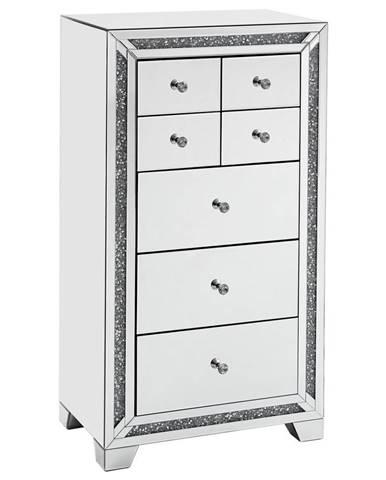 Xora KOMODA, barvy stříbra, 65,5/120/40,5 cm - barvy stříbra