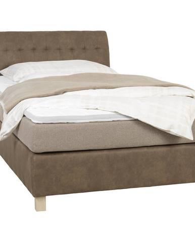 Xora POSTEL BOXSPRING, 120/200 cm, textil, béžová, světle hnědá - béžová, světle hnědá