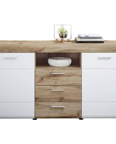 Xora PŘÍBORNÍK/KOMODA, bílá, barvy dubu, 160/87/44 cm - bílá, barvy dubu