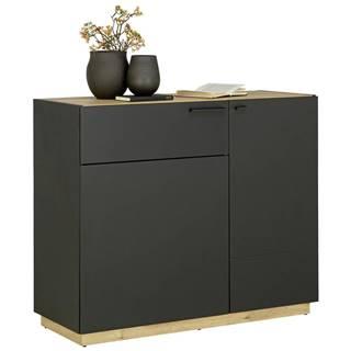 KOMODA, černá, barvy dubu, 100/84/41,5 cm - černá, barvy dubu