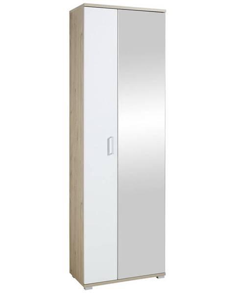 Xora Xora BOTNÍK, bílá, barvy dubu, 70/219/38 cm - bílá, barvy dubu