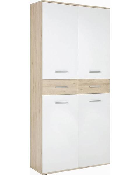 Xora Xora BOTNÍK, bílá, barvy dubu, 90/195/35 cm - bílá, barvy dubu