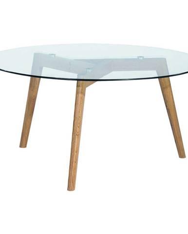 Carryhome KONFERENČNÍ STOLEK, čiré, barvy dubu, dřevo, sklo, 90/90/45 cm - čiré, barvy dubu