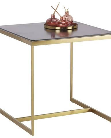 KONFERENČNÍ STOLEK, černá, barvy zlata, kov, sklo, keramika, 55/55/55 cm - černá, barvy zlata