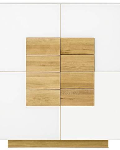 Voglauer VYSOKÁ KOMODA, divoký dub, bílá, barvy dubu, 128/138/43 cm - bílá, barvy dubu