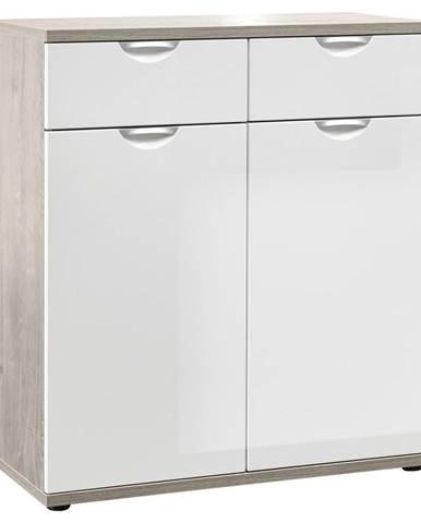 Xora KOMODA, bílá, barvy dubu, 80/89/38 cm - bílá, barvy dubu