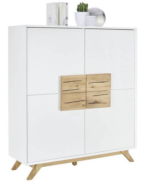 Xora Xora VYSOKÁ KOMODA, dub, bílá, barvy dubu, 120/133/40 cm - bílá, barvy dubu
