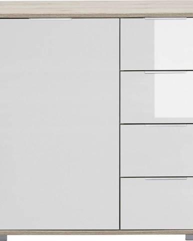 Carryhome KOMODA, bílá, barvy dubu, 81/83/41 cm - bílá, barvy dubu