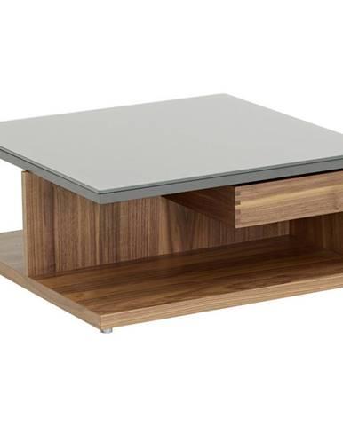 Now by hülsta KONFERENČNÍ STOLEK, šedá, barvy ořechu, dřevo, sklo, 70/70/30,9 cm - šedá, barvy ořechu