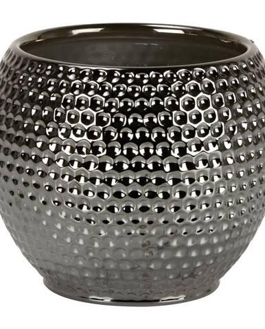 OBAL NA KVĚTINÁČ, keramika, 18/16 cm - barvy stříbra