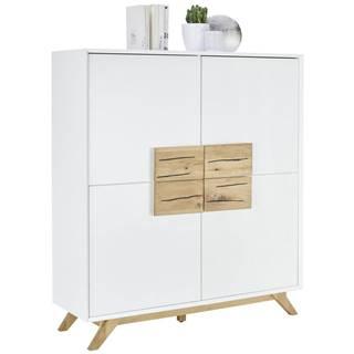 Xora VYSOKÁ KOMODA, dub, bílá, barvy dubu, 120/133/40 cm - bílá, barvy dubu
