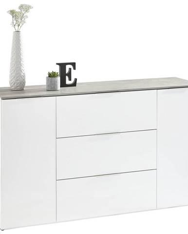 Carryhome PŘÍBORNÍK/KOMODA, šedá, bílá, 159,6/93,50/45 cm - šedá, bílá