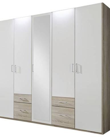 MID.YOU ŠATNÍ SKŘÍŇ, bílá, barvy dubu, 225/210/58 cm - bílá, barvy dubu