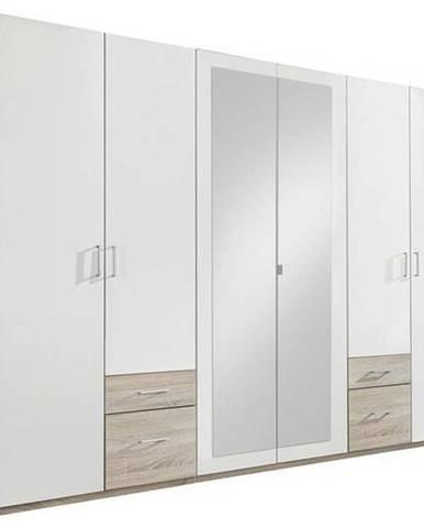 MID.YOU ŠATNÍ SKŘÍŇ, bílá, barvy dubu, 270/210/58 cm - bílá, barvy dubu