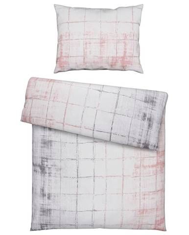 Novel POVLEČENÍ, renforcé, šedá, pink, 140/200 cm - šedá, pink