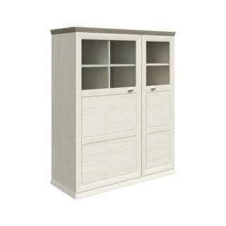 Hom`in VYSOKÁ KOMODA, šedá, bílá, 110/134,2/43 cm - šedá, bílá