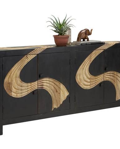 Ambia Home KOMODA, mangové dřevo, přírodní barvy, černá, 180/90/40 cm - přírodní barvy, černá