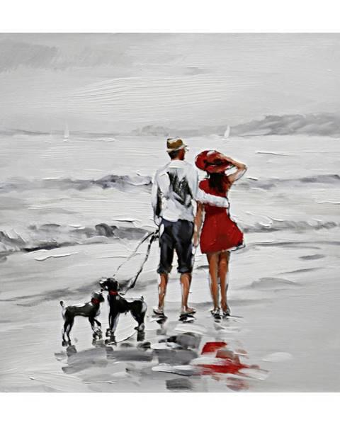 Monee Monee OLEJOMALBA, lidé, 30/30 cm - šedá, červená, bílá