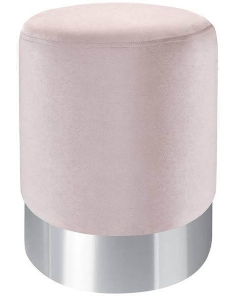 Xora Xora TABURET, kov, textil, 35/35/42 cm - růžová, barvy nerez oceli
