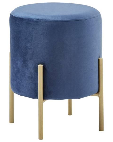 Xora Xora TABURET, kov, textil, 35/42/35 cm - modrá, barvy zlata