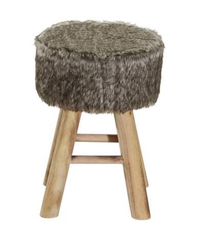 Ambia Home TABURET, dřevo, textil, 28/42 cm - přírodní barvy, bílá