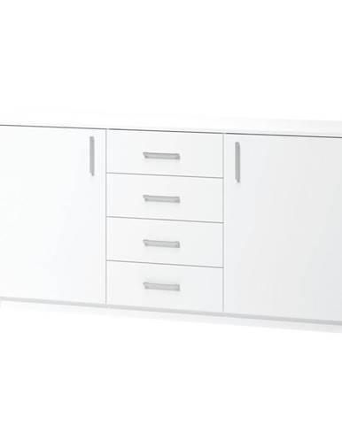 KOMODA, dub, bílá, 159.9/80/39.6 cm - bílá