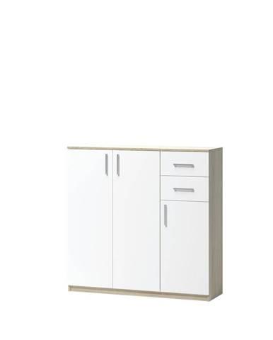 KOMODA, dub, bílá, Sonoma dub, 109.8/110/34.6 cm - bílá, Sonoma dub