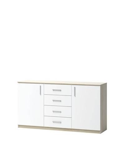 KOMODA, dub, bílá, Sonoma dub, 159.9/80/39.6 cm - bílá, Sonoma dub