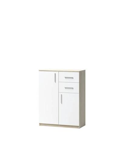 KOMODA, dub, bílá, Sonoma dub, 75/98/34.6 cm - bílá, Sonoma dub
