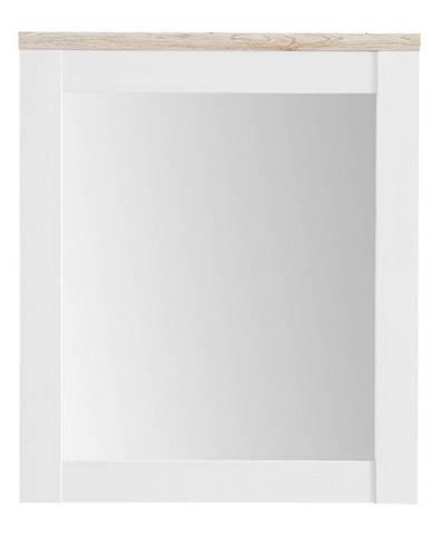 Xora ZRCADLO, 76/91/4 cm - bílá, barvy dubu