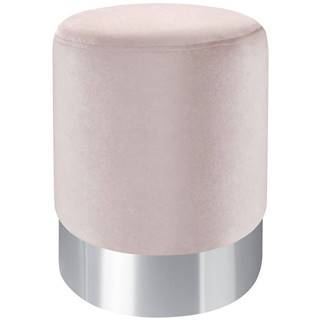 Xora TABURET, kov, textil, 35/35/42 cm - růžová, barvy nerez oceli