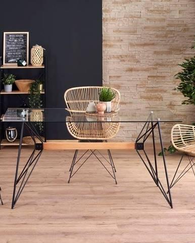 Halmar Jídelní stůl Allegro, buk/černý/sklo